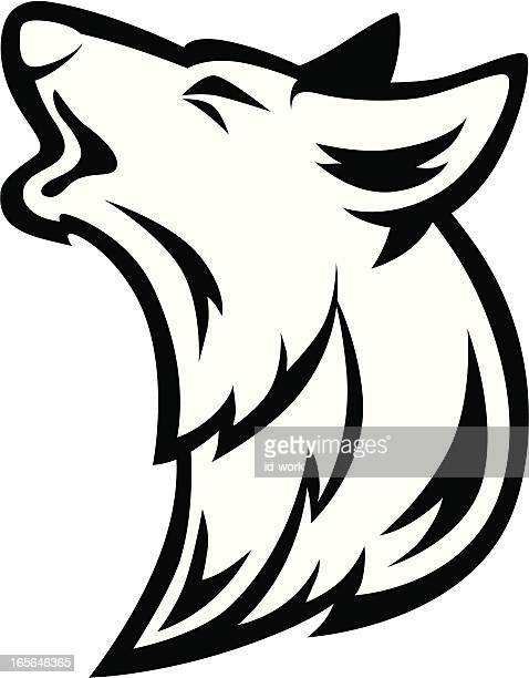 vector illustration silhouette of howling wolf - howling stock illustrations, clip art, cartoons, & icons
