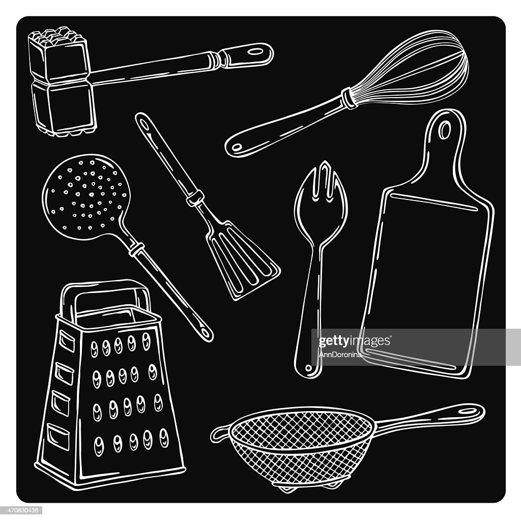 vector illustration silhouettes of kitchen accessories