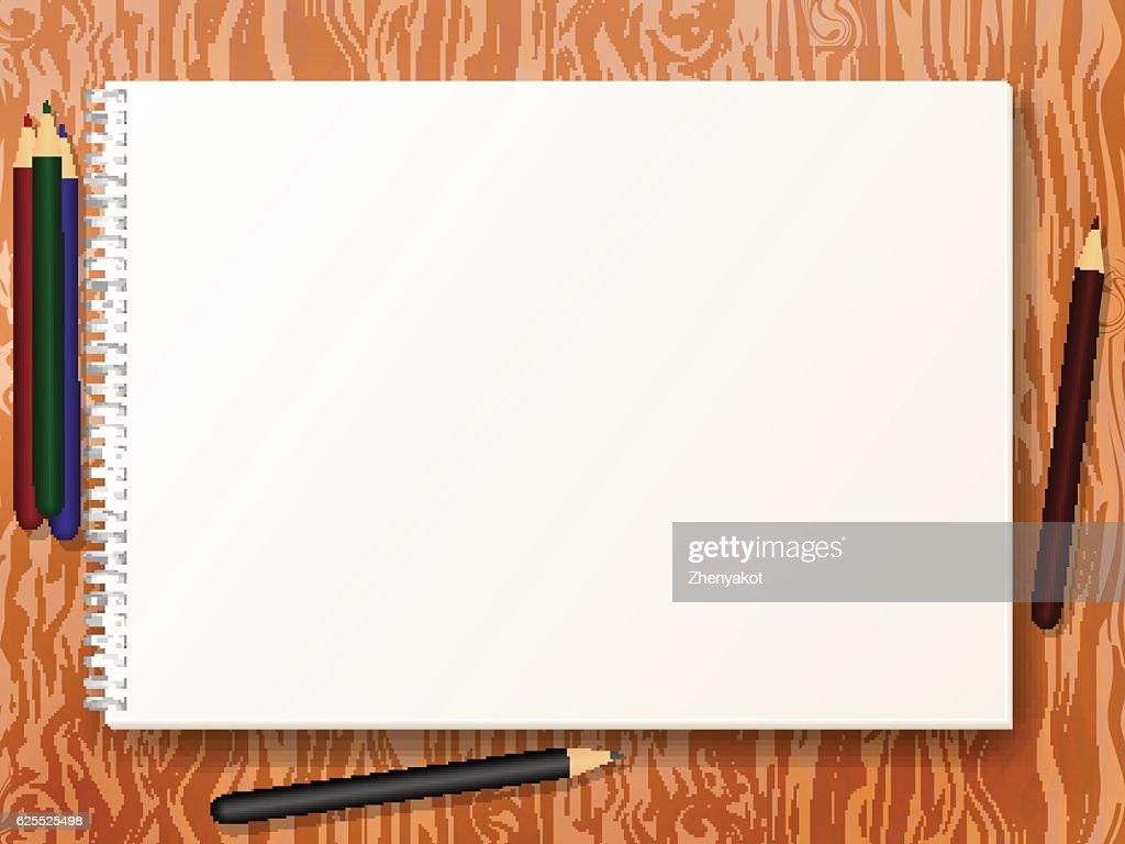 Vector illustration sketch pad with pencils