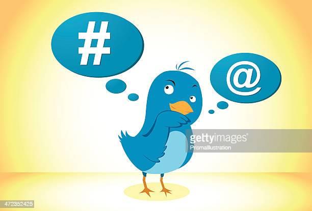 illustration vectorielle d'oiseau bleu icône de réseau social