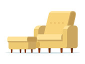 Vector illustration sofa chair with footstool