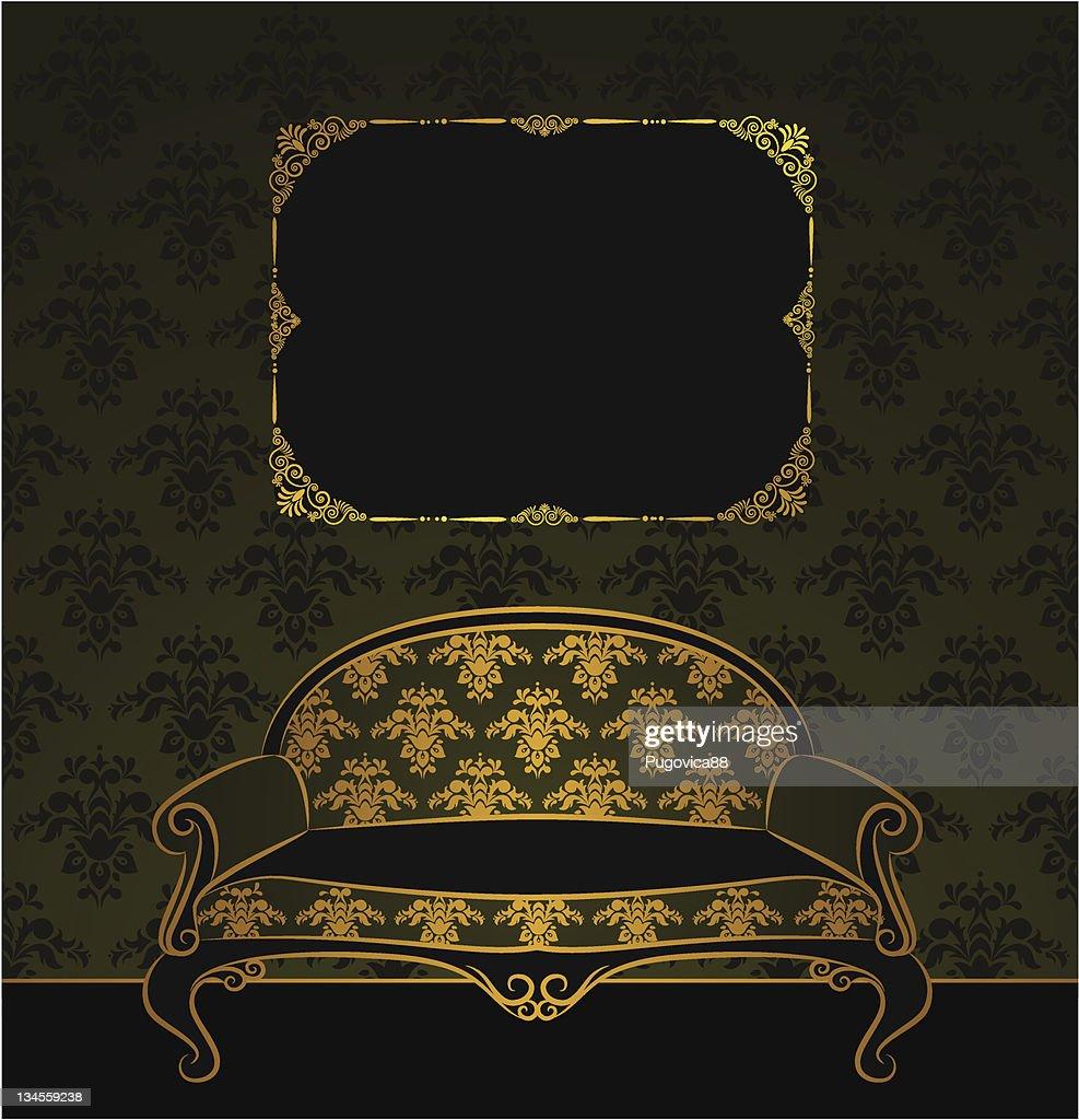 Vector illustration sofa in vintage interior