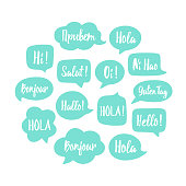 Vector illustration speech bubbles set with word hello in different languages