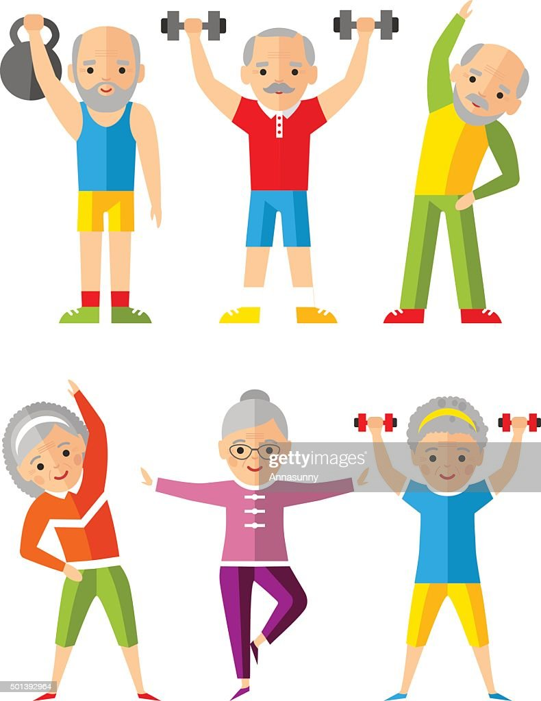 Vector illustration sport healthy and leisure old people activities