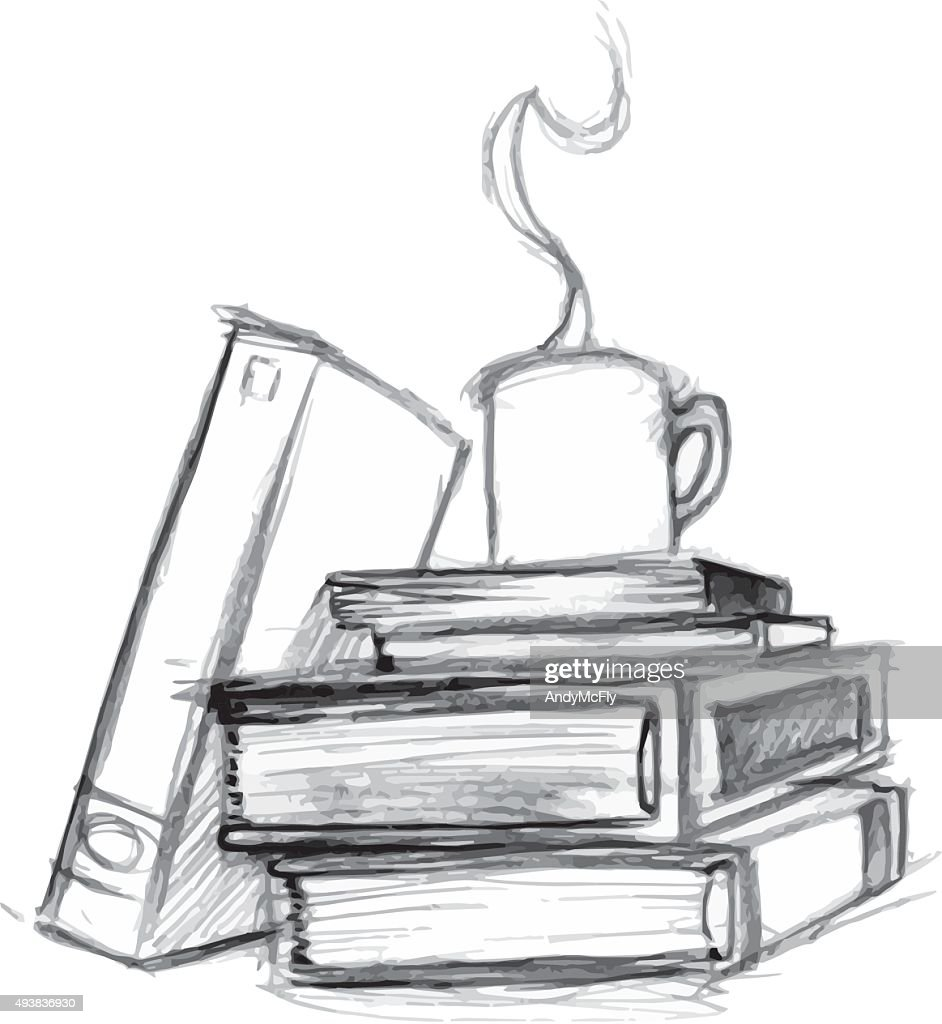 Vector illustration stack of hard cover books with coffee cup