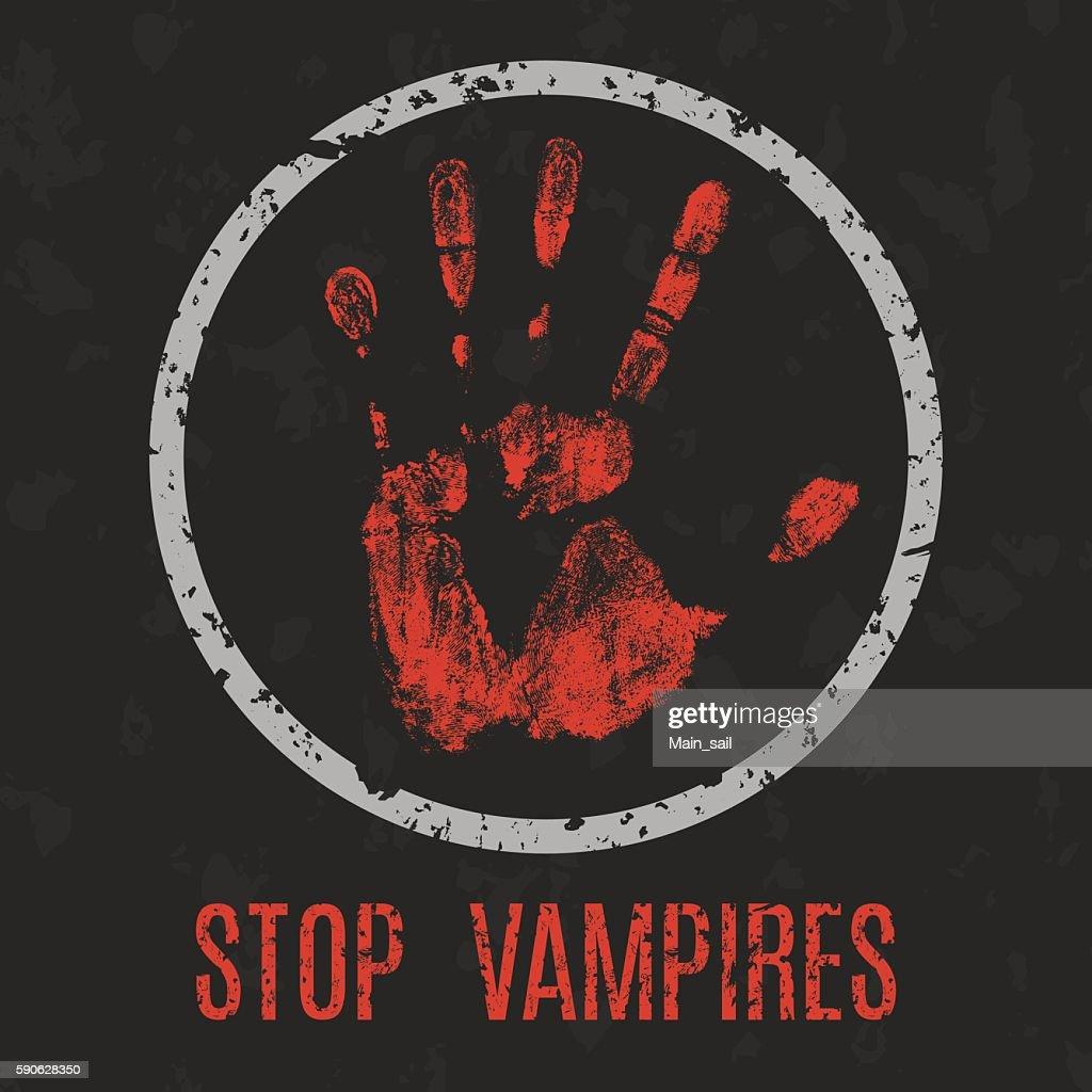 Vector illustration. Stop vampires.