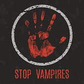 Vector illustration. Stop vampires.