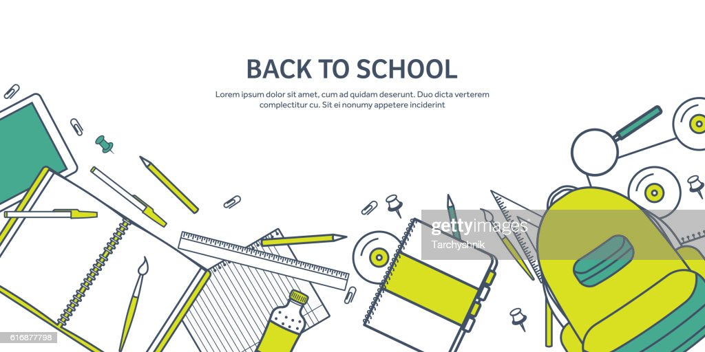 Vector illustration. Study and education. Lined flat style. Knowledge,information