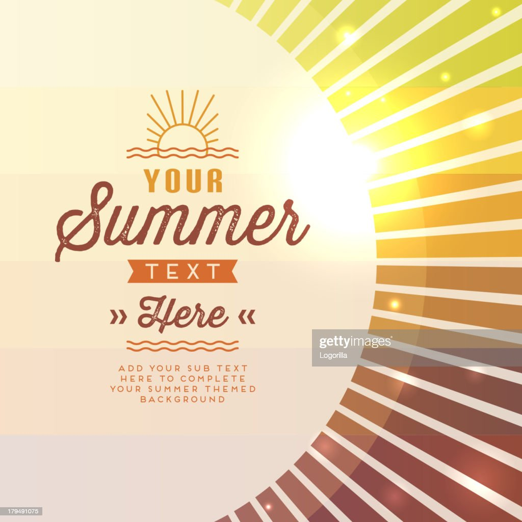 Vector illustration summer sun with text space : stock illustration