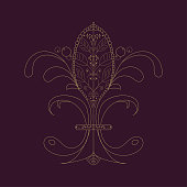 Vector illustration: The Fleur de Lis or flower de luce with french floral medieval ornament. The Fleur de Lis known as French Royal Lily isolated on a vintage dark luxury background.