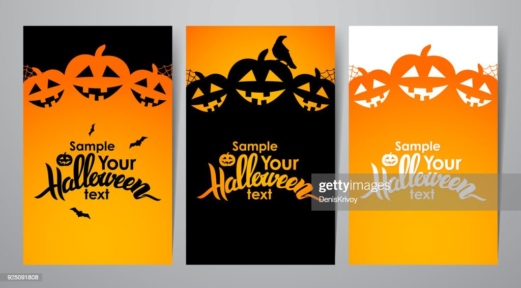 Vector illustration: Three vertical layout of poster or flyer with Handwritten lettering of Halloween