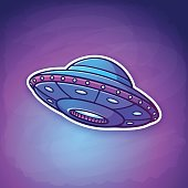 Vector illustration. Toy UFO with lights flying on the space background. Alien space ship. Sticker in cartoon style with contour. Futuristic unknown flying object. Isolated on dark background