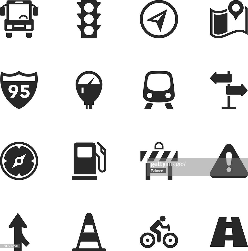 Vector illustration traffic silhouette icons