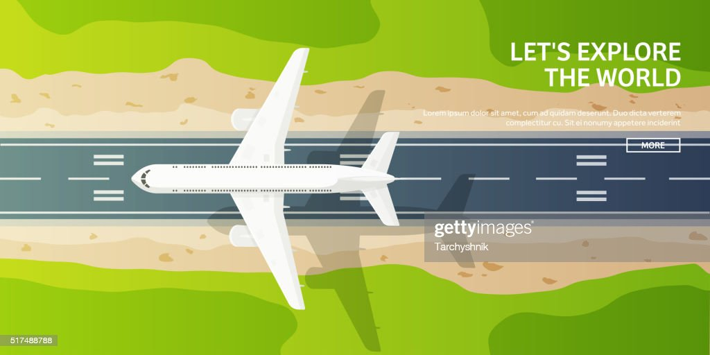 Vector illustration. Travel and tourism. Airplane, aviation. Summer holidays, vacation