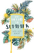 Vector illustration Tropical floral summer party poster