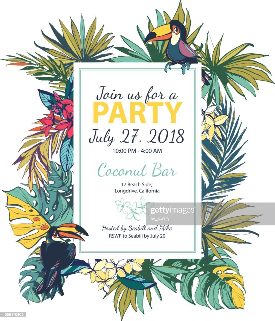 Vector illustration Tropical floral summer party poster with pal