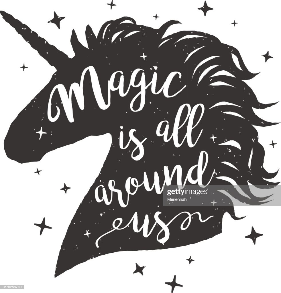Vector illustration unicorn head silhouette with lettering text