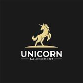 Vector Illustration Unicorn Jump Silhouette Style.