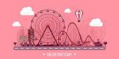 Vector illustration. Valentines day. Love. 14 february. Park. Ferris wheel