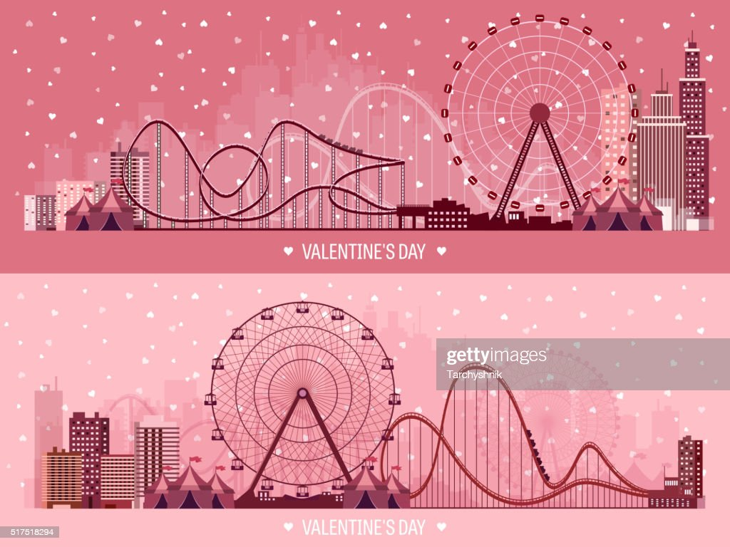 Vector illustration. Valentines day. Love. 14 february. Park. Ferris wheel