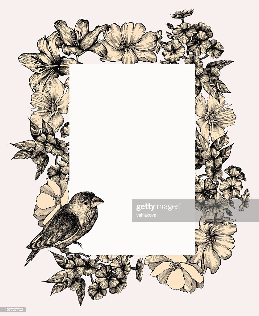 Vector illustration. Vintage frame with blooming flowers and birds, hand-drawing.