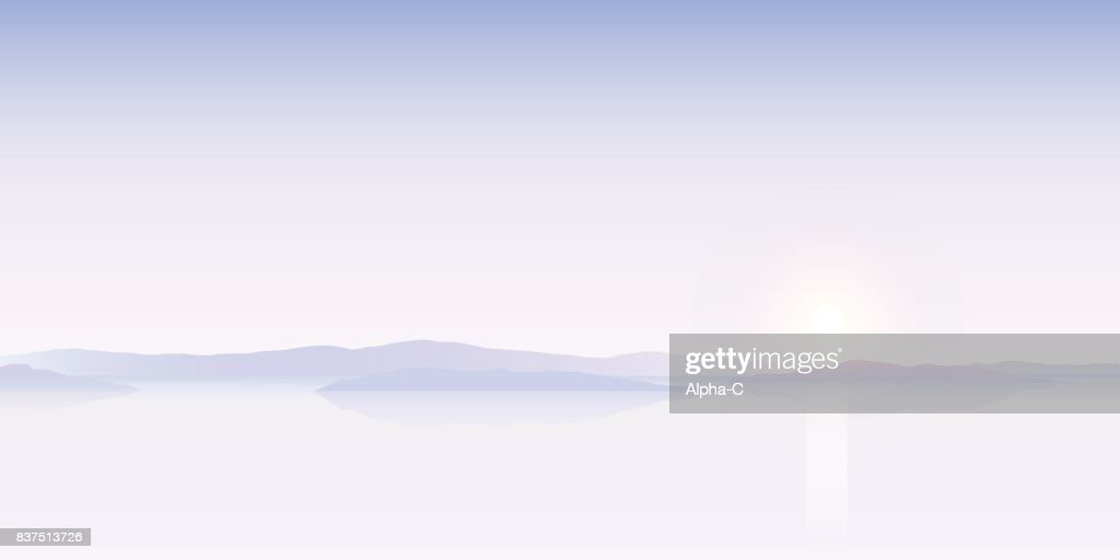 Vector illustration water with pink sunrise