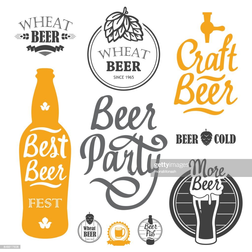 Vector Illustration with beer pub icon and labels. Simple symbols glass, bottle. Oktoberfest traditions. Decorative elements for your design. Black white style