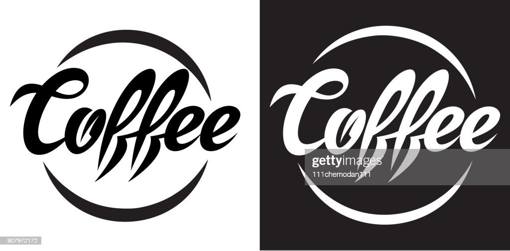 vector illustration with calligraphic lettering of coffee.