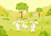 Vector illustration with Cartoon Cute Nature rabbit and friends cute forest animals in a children's style. Collection in the children's style.
