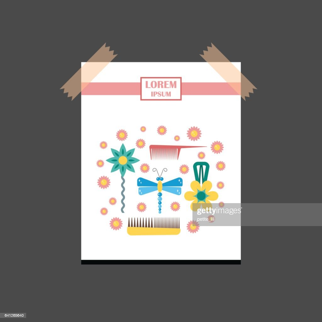 Vector illustration with cartoon flat hairpins background