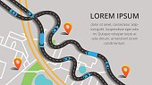 Vector illustration with city map, roads cars, truck and pin pointers. Picture of traffic jam for banner, brochure