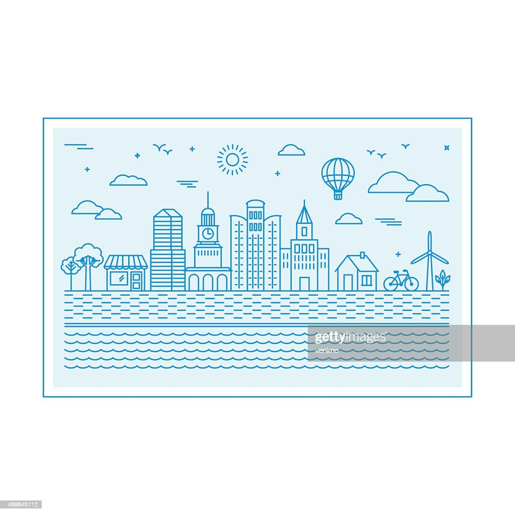 Vector illustration with city skyline