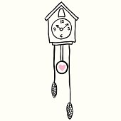 Vector illustration with clock and bird on the wall