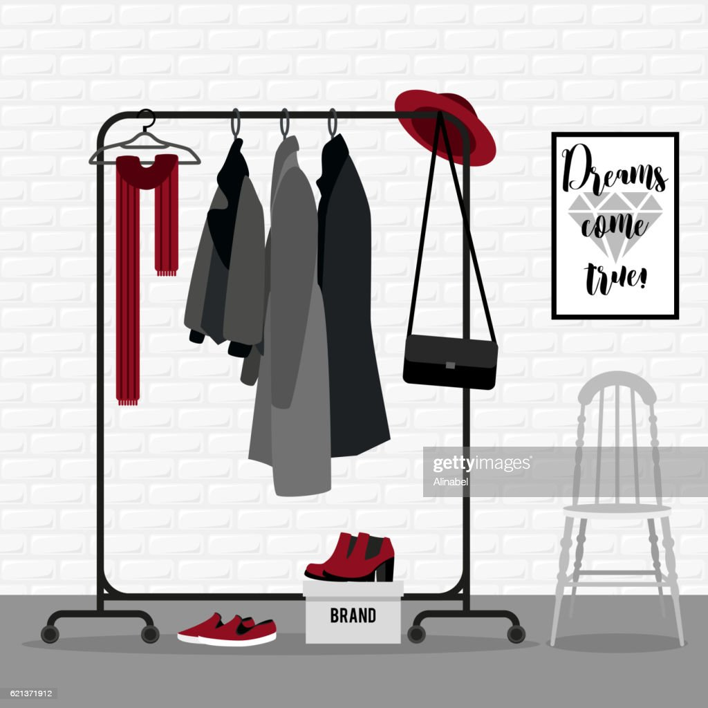 Vector illustration with coat rack.
