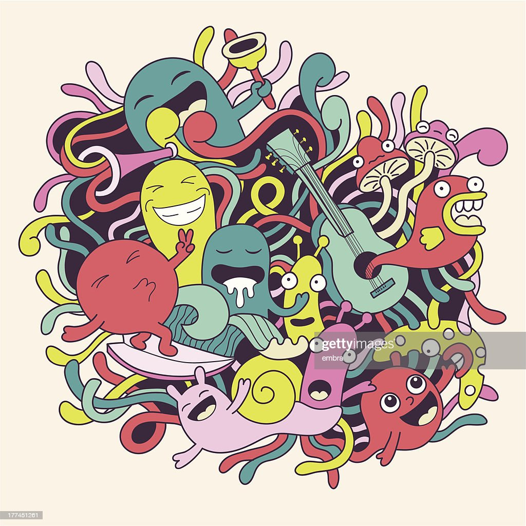 Vector illustration with cute funny monsters