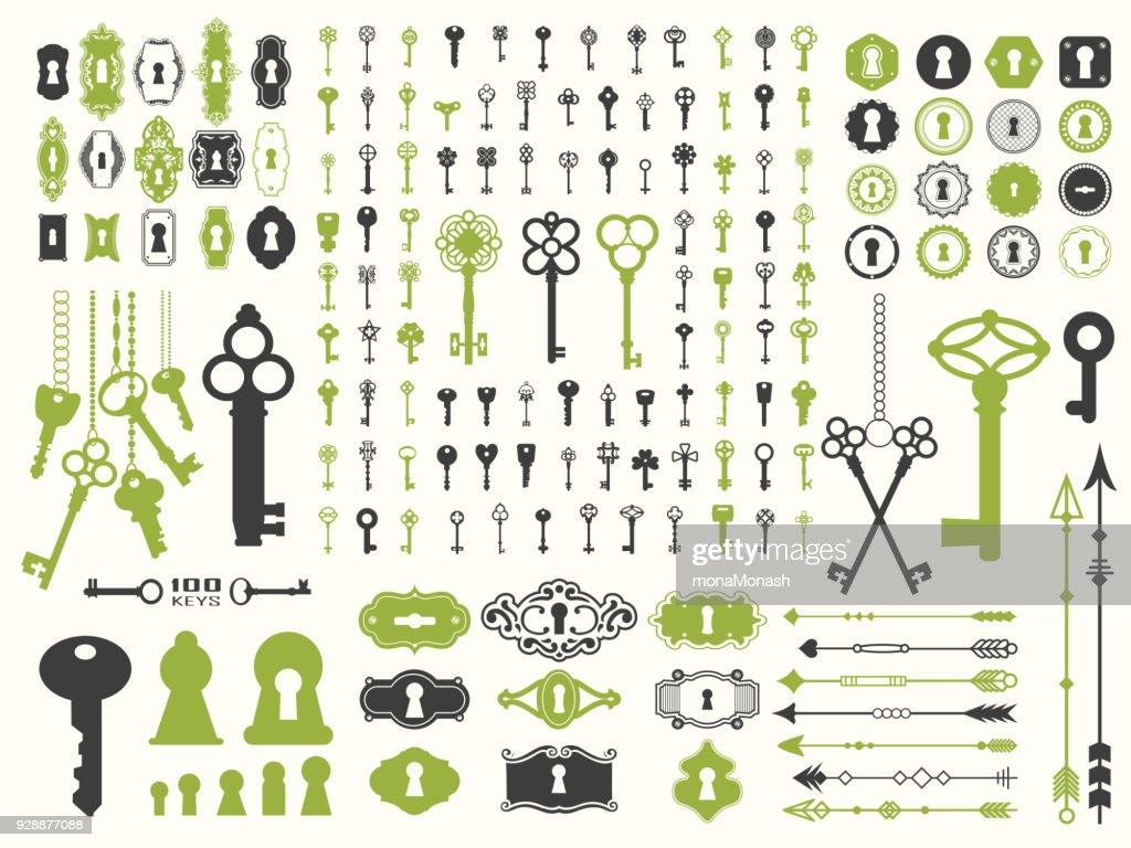 Vector illustration with design illustrations for decoration. Big silhouettes set of keys, locks, arrows, illustrations on white background. Vintage style