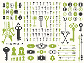Vector illustration with design illustrations for decoration. Big silhouettes set of keys, locks, arrows, illustrations on white background. Vintage style
