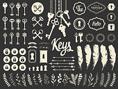 Vector illustration with design illustrations for decoration. Big silhouettes set of keys, locks, wreaths, illustrations, branch, arrows, feathers on white background. Vintage style