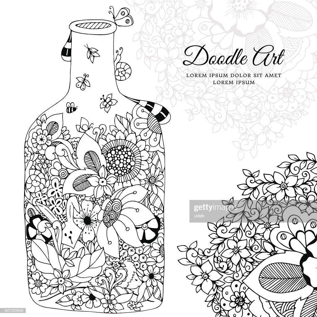 Vector illustration with flowers bottle. Doodle frame. Coloring