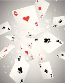 Vector Illustration with flying playing cards