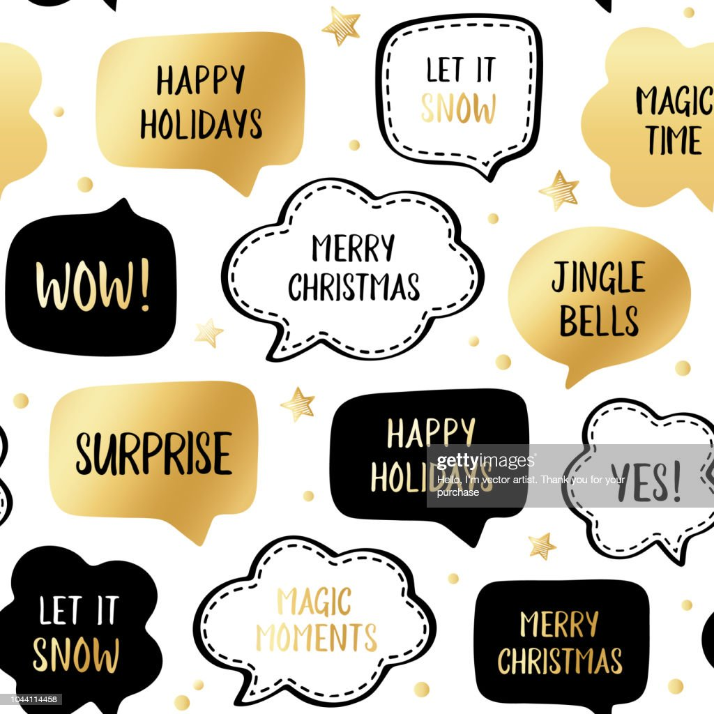 Vector illustration with gold stars on white and greetings: merry christmas, happy holiday, let it snow