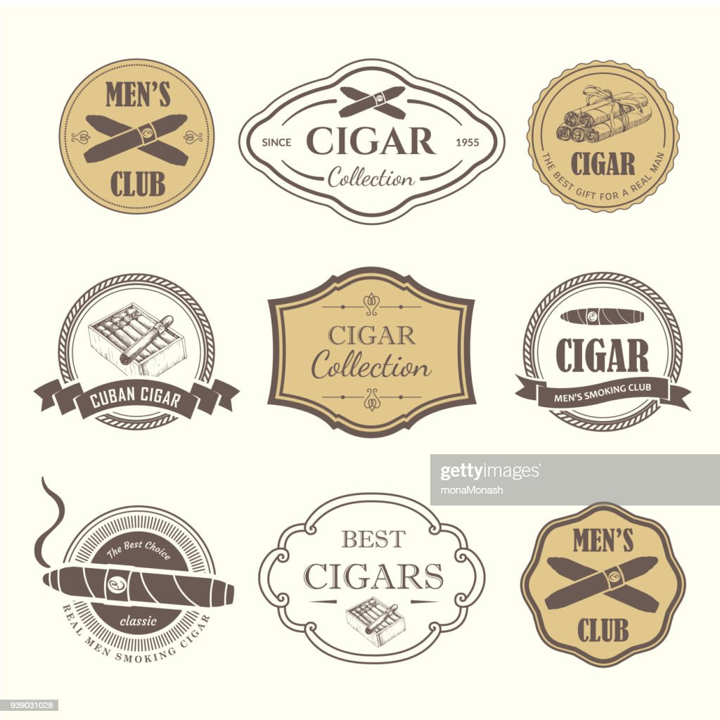 Vector Illustration with icon and labels. Simple symbols tobacco, cigar. Traditions of smoke. Decorative illustrations, icon for your design. Gentleman style