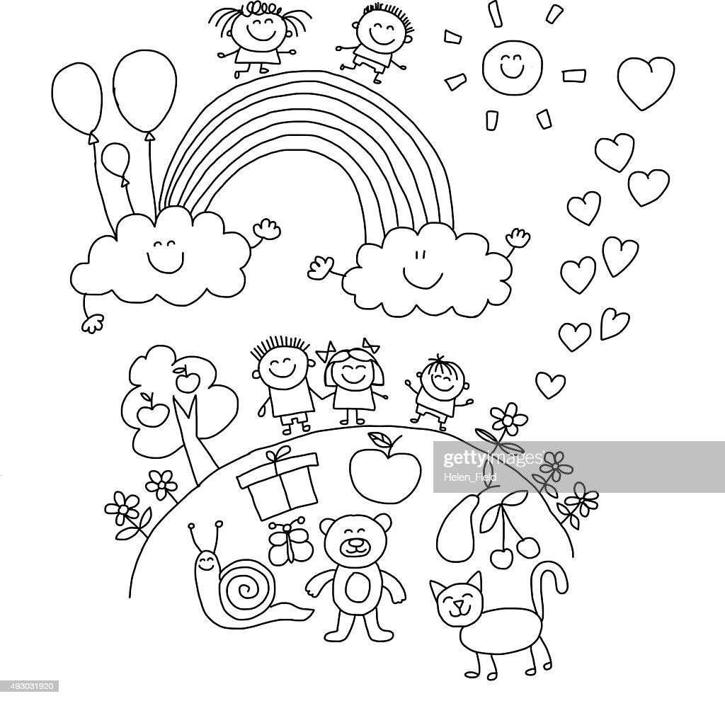 Vector illustration with kids.