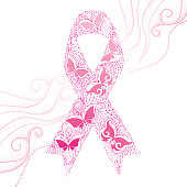 Vector illustration with lace pink ribbon with butterflies and swirls.