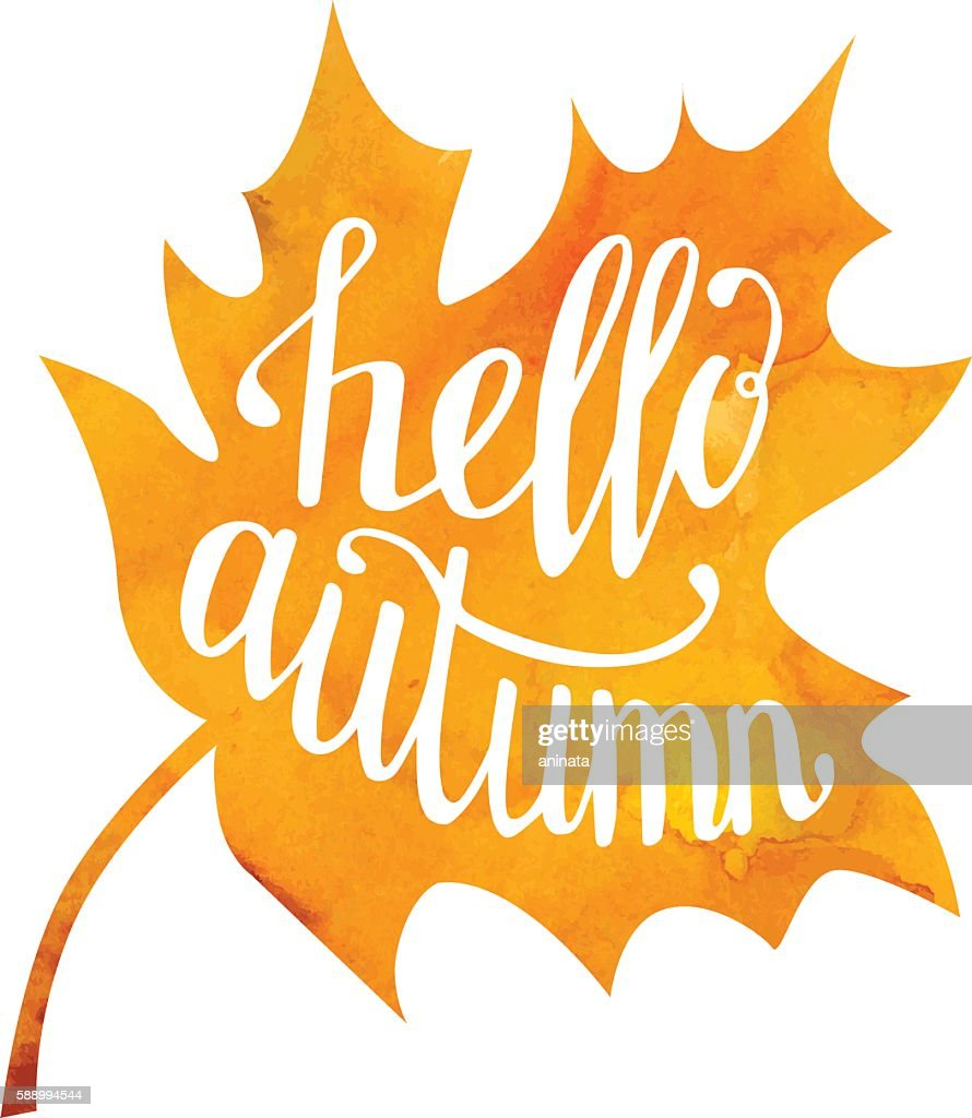Vector illustration with lettering Hello autumn