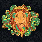 Vector illustration with lion in reggae style listening music.