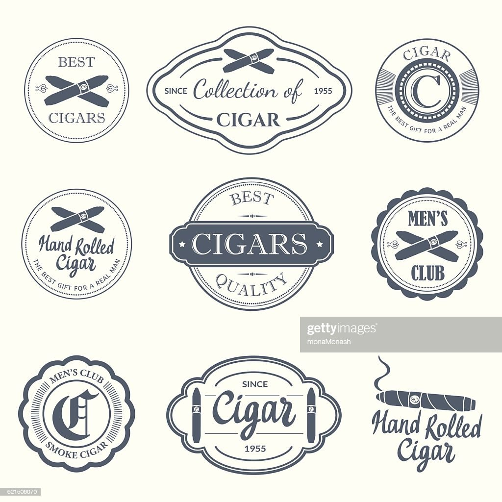 Vector Illustration with logo and labels. Simple symbols  tobacco  cigar