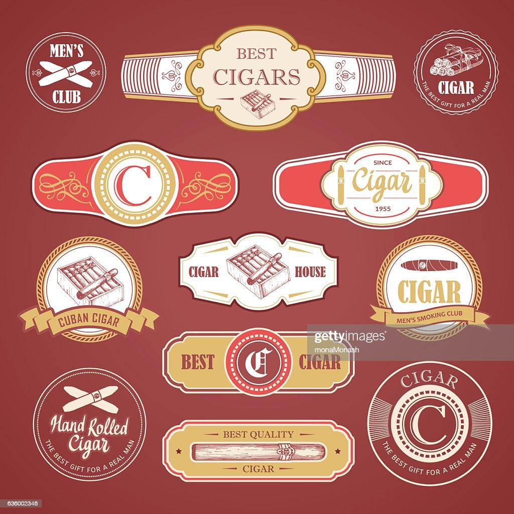 Vector Illustration with logo and labels. Simple symbols tobacco, cigar