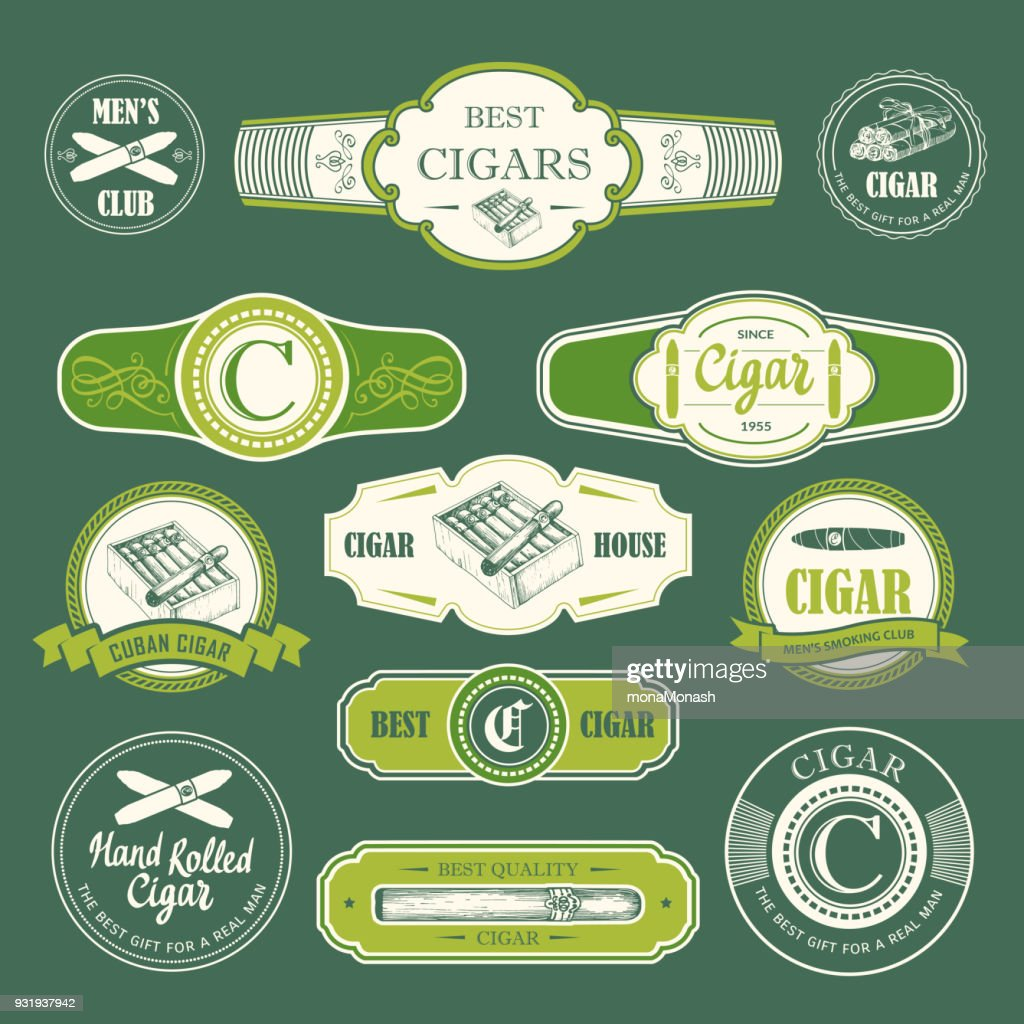 Vector Illustration with logo and labels. Simple symbols tobacco, cigar. Traditions of smoke. Decorative illustrations, icon for your design. Gentleman style