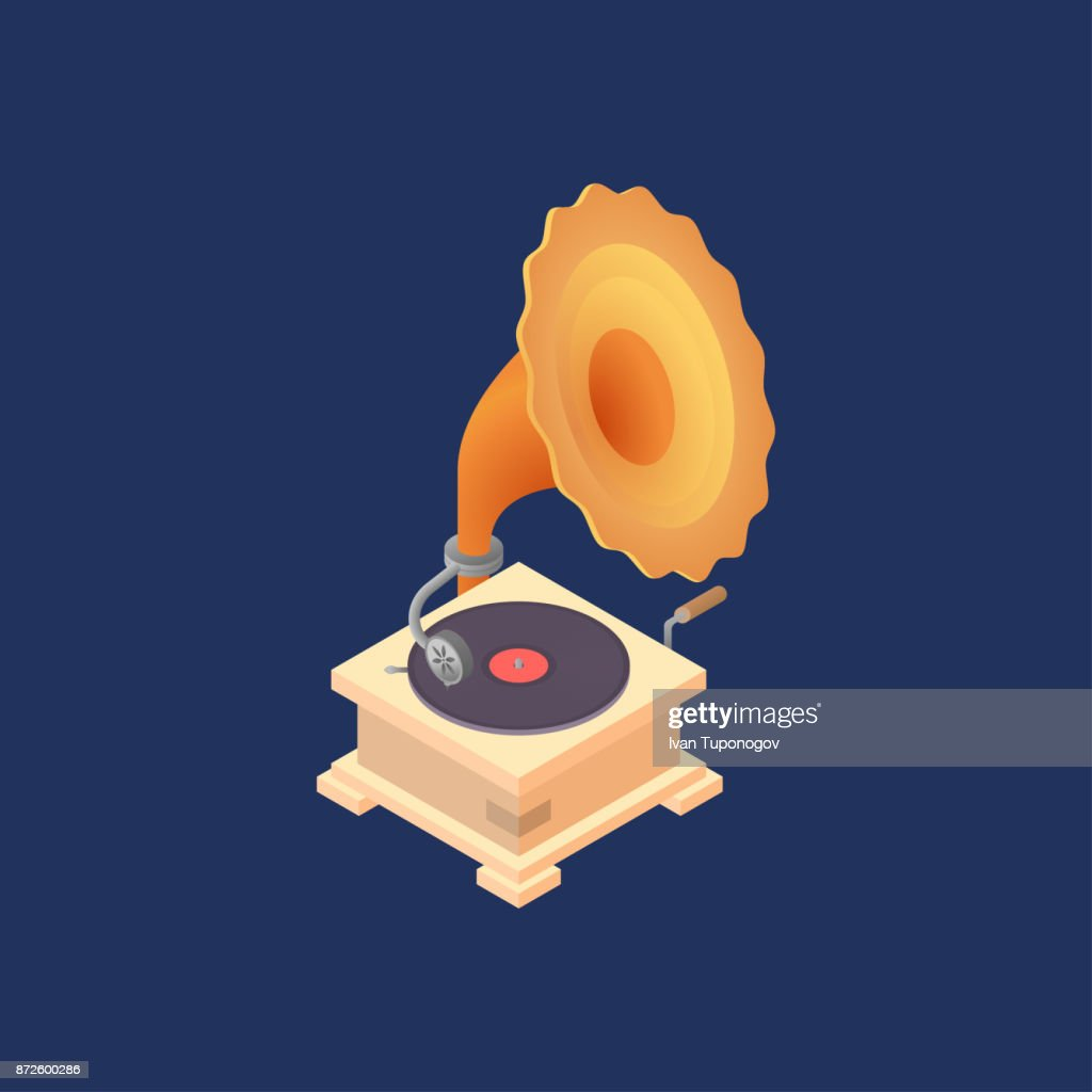 Vector illustration with old gramophone.